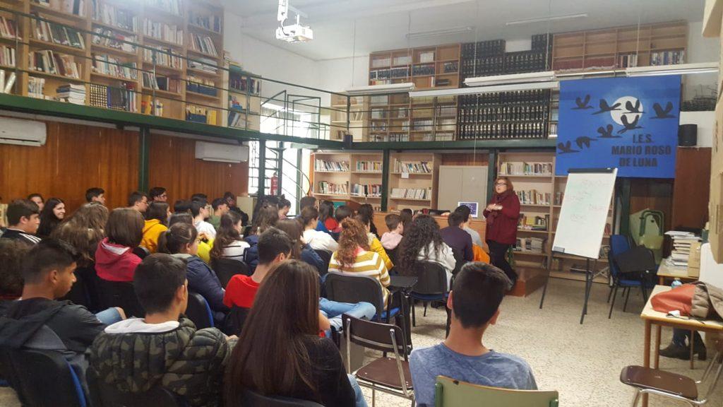 Charla en el Instituto Mario Roso de Luna en Logrosán, Cáceres.
